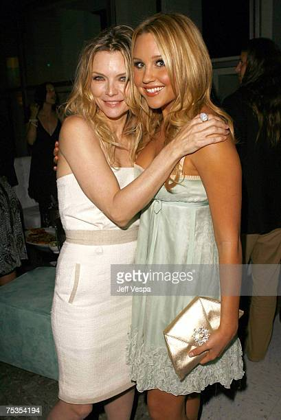 Michelle Pfeiffer and Amanda Bynes at the after party for the Los Angeles premiere of 'Hairspray' at UCLA on July 10 2007 in Los Angeles California