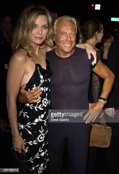 Michelle Pfeiffer and Giorgio Armani during Giorgio Armani Receives First 'Rodeo Drive Walk Of Style' Award at Rodeo Drive in Beverly Hills...