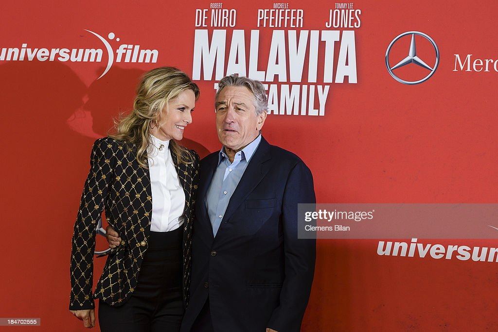 <a gi-track='captionPersonalityLinkClicked' href=/galleries/search?phrase=Michelle+Pfeiffer&family=editorial&specificpeople=212951 ng-click='$event.stopPropagation()'>Michelle Pfeiffer</a> and <a gi-track='captionPersonalityLinkClicked' href=/galleries/search?phrase=Robert+De+Niro&family=editorial&specificpeople=201673 ng-click='$event.stopPropagation()'>Robert De Niro</a> attend the 'Malavita' premiere at Kino in der Kulturbrauerei on October 15, 2013 in Berlin, Germany.