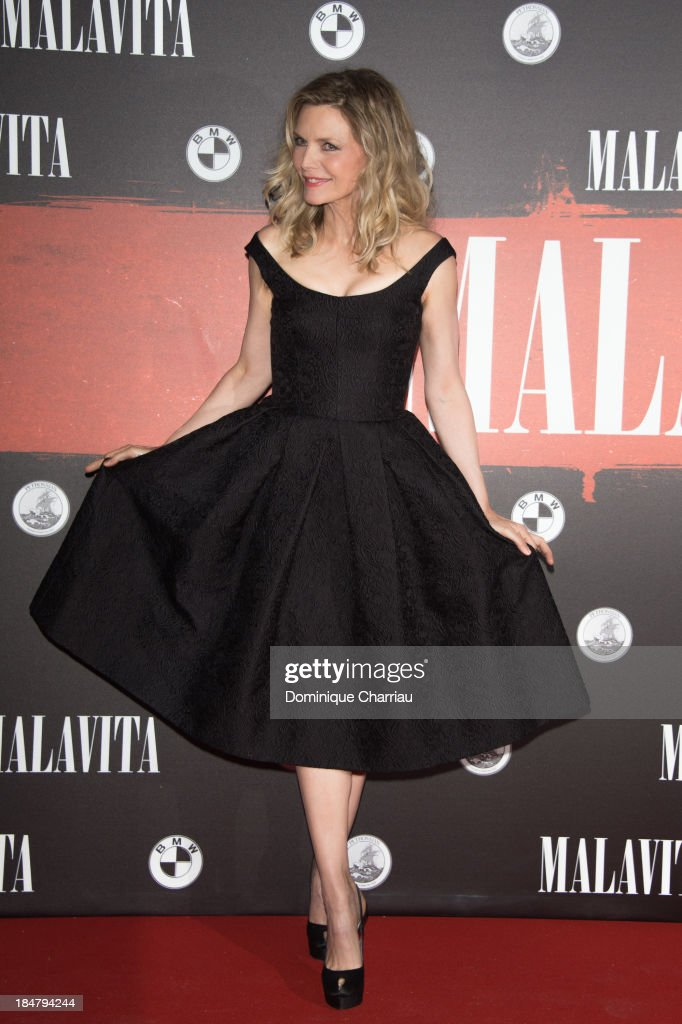 <a gi-track='captionPersonalityLinkClicked' href=/galleries/search?phrase=Michelle+Pfeiffer&family=editorial&specificpeople=212951 ng-click='$event.stopPropagation()'>Michelle Pfeiffer</a> attends the 'Malavita' premiere at Europacorp Cinema on October 16, 2013 in Roissy-en-France, France.