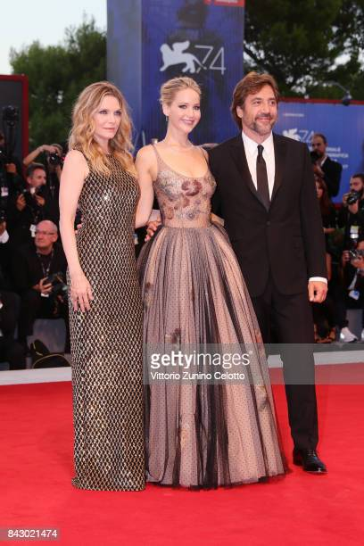 Michelle Pfeiffer Jennifer Lawrence and Javier Bardem attend the Gala Screening and World Premiere of 'mother' during the 74th Venice Film Festival...