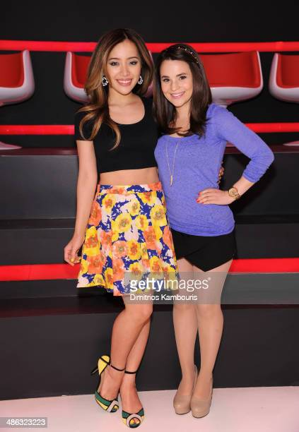 Michelle Phan and Rosanna Pansino attend Unleash YouTube Event with stars Michelle Phan Rosanna Pansino And Bethany Mota on April 23 2014 in New York...