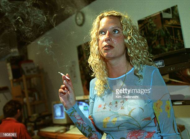 Michelle RaineyFenkarek who has been diagnosed with Chrones disease smokes marijuana for medicinal purposes August 10 2001 in Vancouver Canada...