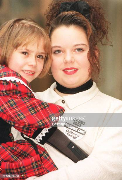 LONDON 131294 Michelle Reeve from Middlesbrough who was stabbed 15 times when a masked knifeman took her class hostage and Abby Bamford from...