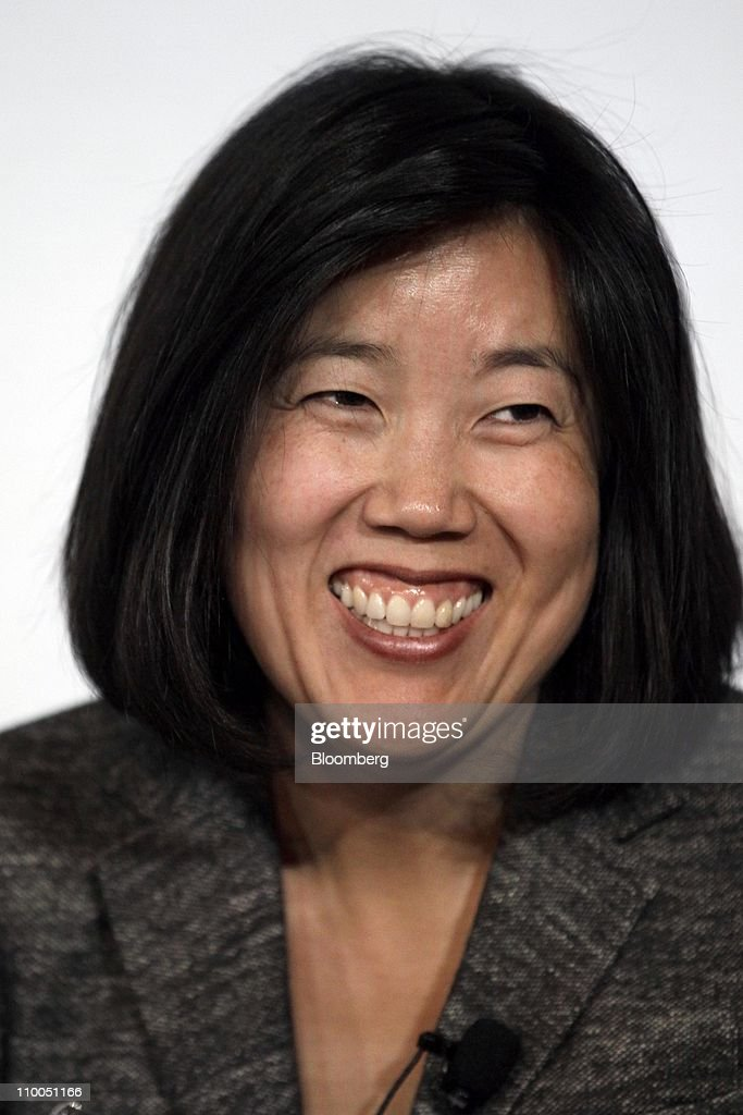 <a gi-track='captionPersonalityLinkClicked' href=/galleries/search?phrase=Michelle+Rhee&family=editorial&specificpeople=6520372 ng-click='$event.stopPropagation()'>Michelle Rhee</a>, former chancellor of the District of Columbia public school system, smiles during a panel discussion at Stanford University's SIEPR Economic Summit in Palo Alto, California, U.S., on Friday, March 11, 2011. Rhee and Caroline Hoxby, a professor of economics at Stanford University, discussed the relationship between education and economics. Photographer: Tony Avelar/Bloomberg via Getty Images