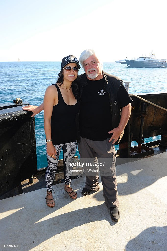 Michelle Rodriguez and enviornmental activist Paul Watson visit The Sea Shepard's Steve Irwin Vessel during The 64th Annual Cannes Film Festival on May 20, 2011 in Cannes Harbor, France.