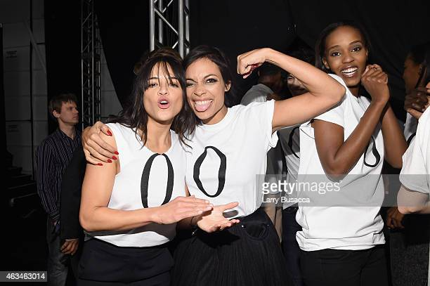 Michelle Rodriguez and Rosario Dawson pose backstage at Naomi Campbell's Fashion For Relief Charity Fashion Show during MercedesBenz Fashion Week...