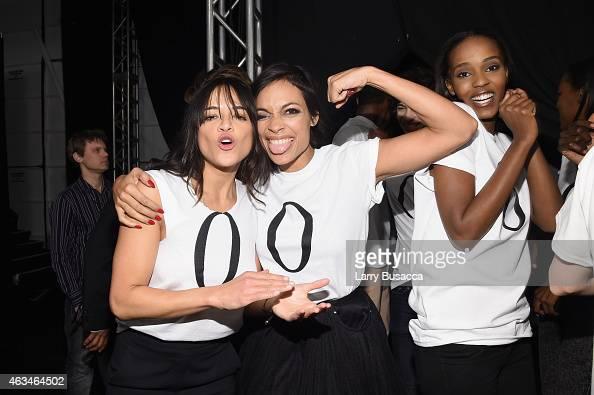 Michelle Rodriguez and Rosario Dawson pose backstage at #TackleEbola At Naomi Campbell's Fashion For Relief MercedesBenz Fashion Week Fall 2015 at...