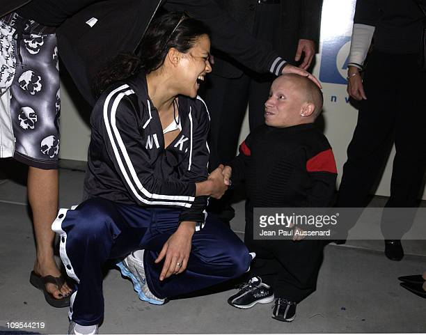 Michelle Rodriguez and Verne Troyer during HP and The Hollywood Reporter Celebrate 'The Future Through TV Film' Arrivals at Astra West in West...