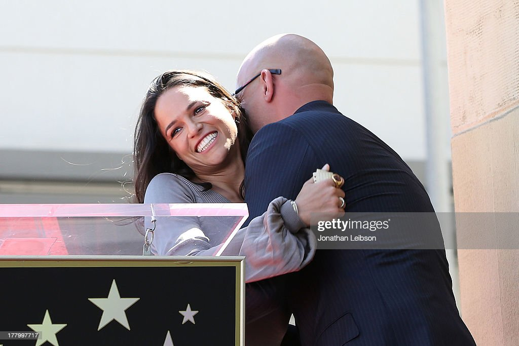 Michelle Rodriguez and Vin Diesel attend the ceremony honoring Vin Diesel with a star on The Hollywood Walk of Fame held on August 26, 2013 in Hollywood, California.