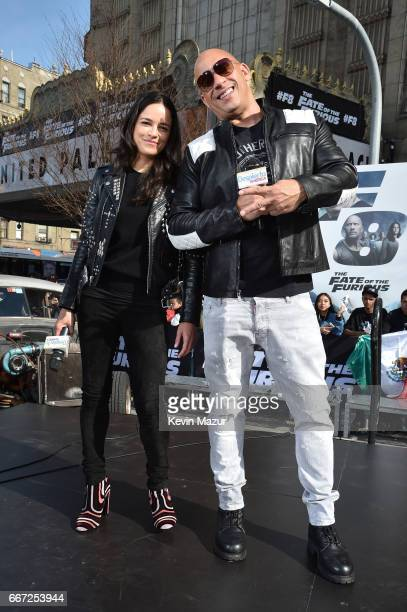 Michelle Rodriguez and Vin Diesel visit Washington Heights on behalf of 'The Fate Of The Furious' on April 11 2017 in New York City