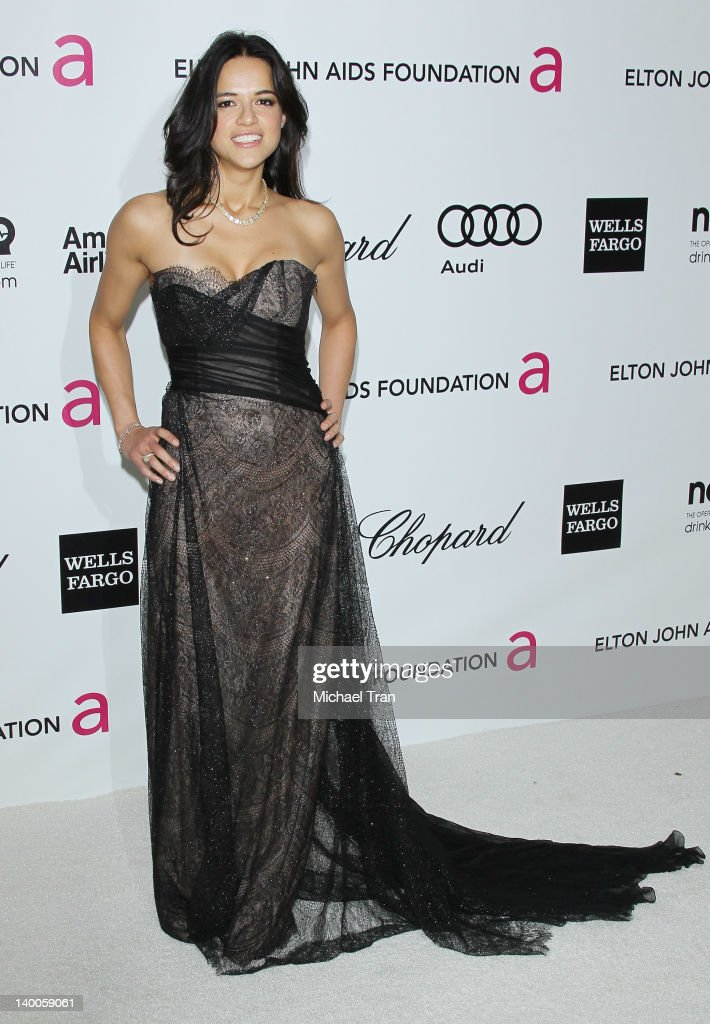 Michelle Rodriguez arrives at the 20th Annual Elton John AIDS Foundation Academy Awards viewing party held across the street from the Pacific Design Center on February 26, 2012 in West Hollywood, California.