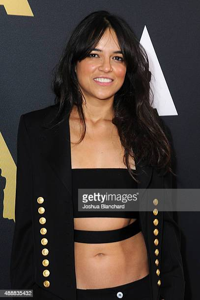 Michelle Rodriguez arrives at the Academy of Motion Picture Arts and Sciences' 42nd Student Academy Awards on September 17 2015 in Los Angeles...
