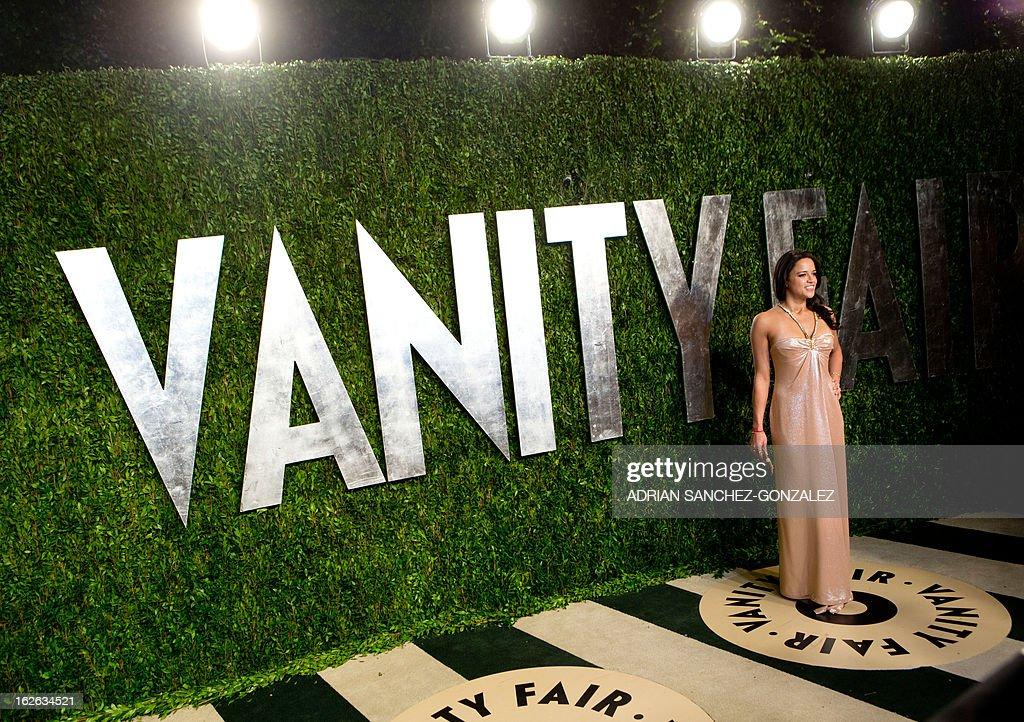 Michelle Rodriguez arrives for the 2013 Vanity Fair Oscar Party on February 24, 2013 in Hollywood, California.