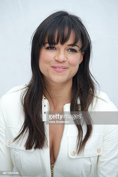 Michelle Rodriguez at the 'Furious 7' Press Conference at Dodger Stadium on March 23 2015 in Los Angeles California