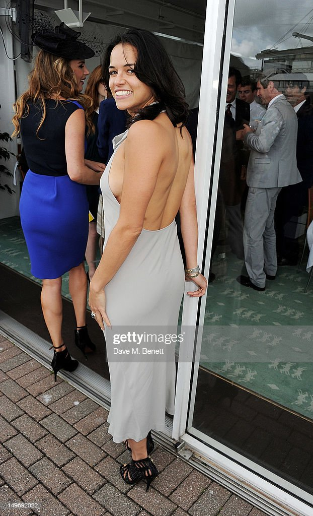 Michelle Rodriguez attends Ladies Day at Glorious Goodwood held at Goodwood Racecourse on August 2, 2012 in Chichester, England.