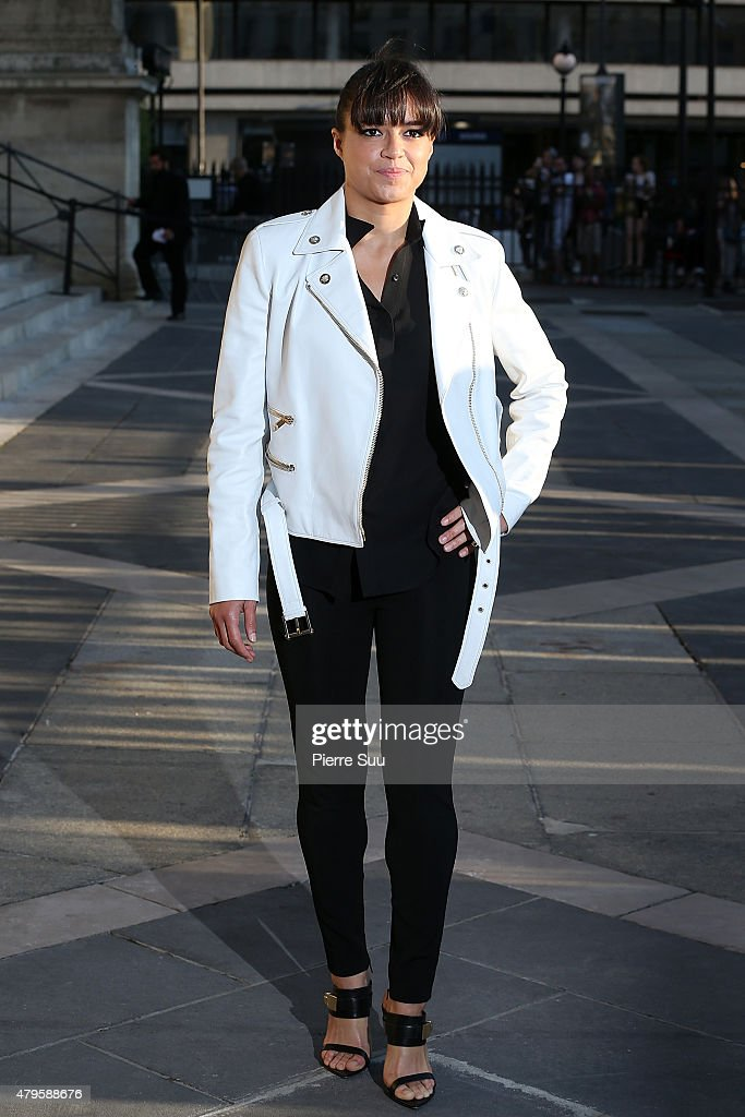 Michelle Rodriguez attends the Atelier Versace show as part of Paris Fashion Week Haute Couture Fall/Winter 2015/2016 on July 5, 2015 in Paris, France.