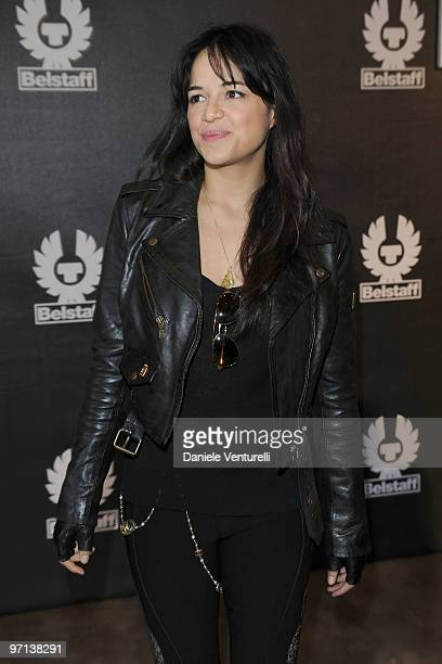 Michelle Rodriguez attends the Belstaf Womenswear And Polizia di Stato Presentation Milan A/W 2010 show on February 27 2010 in Milan Italy