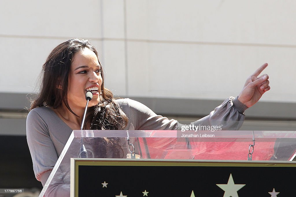 <a gi-track='captionPersonalityLinkClicked' href=/galleries/search?phrase=Michelle+Rodriguez&family=editorial&specificpeople=206182 ng-click='$event.stopPropagation()'>Michelle Rodriguez</a> attends the ceremony honoring Vin Diesel with a star on The Hollywood Walk of Fame held on August 26, 2013 in Hollywood, California.