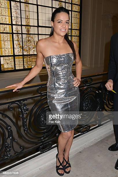 Michelle Rodriguez attends the JeanPaul Gaultier show as part of Paris Fashion Week Haute Couture Fall/Winter 2015/2016 at 325 rue Saint Martin on...