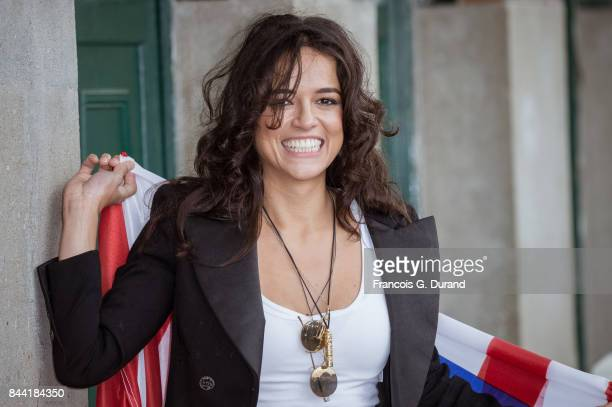 Michelle Rodriguez attends the naming ceremony of her dedicated beach cabana during the 43rd Deauville American Film Festival on September 8 2017 in...