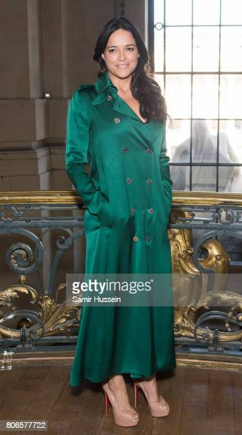 Michelle Rodriguez attends the Ralph Russo Haute Couture Fall/Winter 20172018 show as part of Haute Couture Paris Fashion Week on July 3 2017 in...