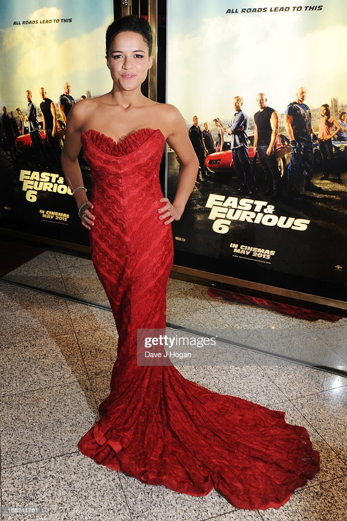Michelle Rodriguez attends the world premiere of 'Fast And Furious 6' at The Empire Leicester Square on May 7, 2013 in London, England.