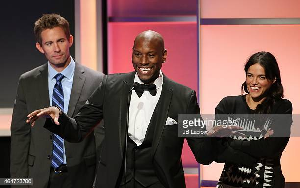 Michelle Rodriguez Cody Walker Caleb Walker and Tyrese Gibson are seen on stage during the 3rd Annual Noble Awards held at the Beverly Hilton Hotel...