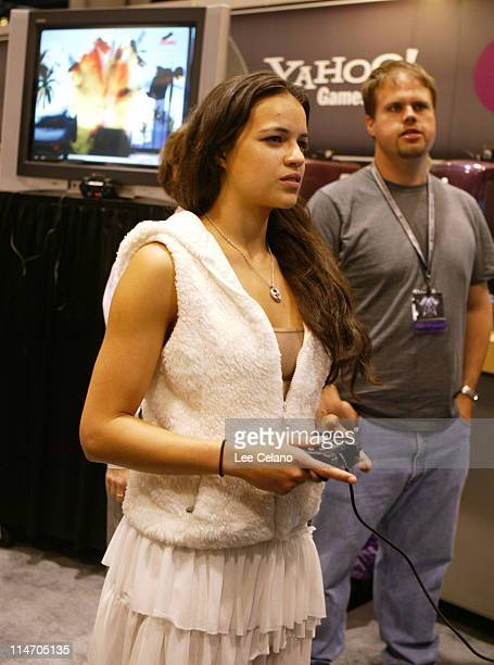 Michelle Rodriguez during Michelle Rodriguez Attends DRIV3R Party Hosted by Yahoo Games at E3 Expo at Los Angeles Convention Center in Los Angeles...