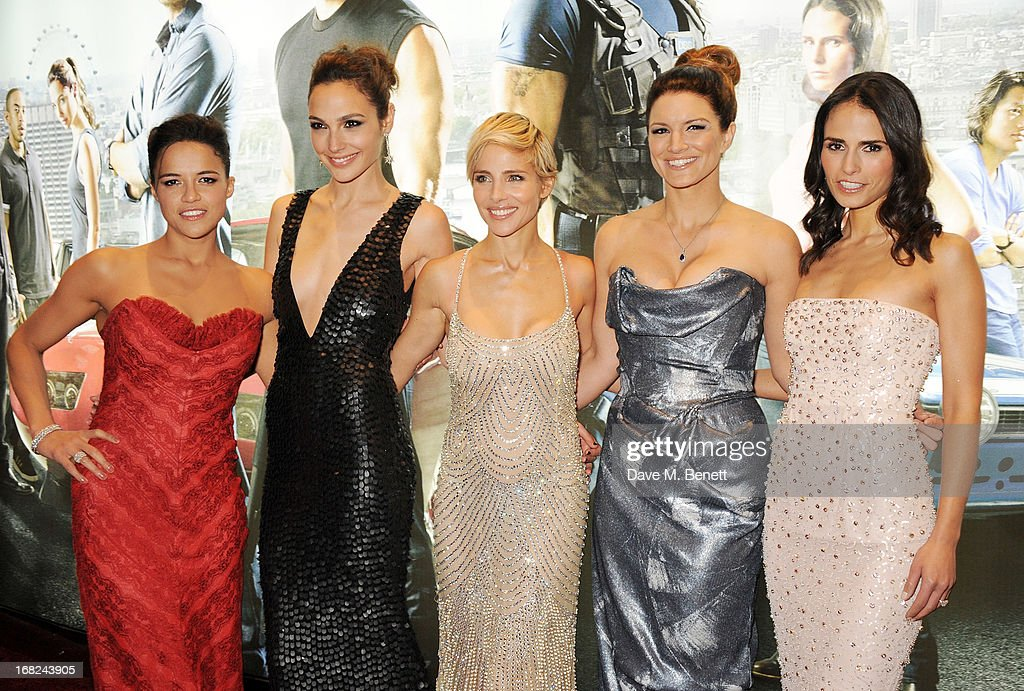 Michelle Rodriguez, Gal Gadot, Elsa Pataky, Gina Carano and Jordana Brewster attend the World Premiere of 'Fast & Furious 6' at Empire Leicester Square on May 7, 2013 in London, England.