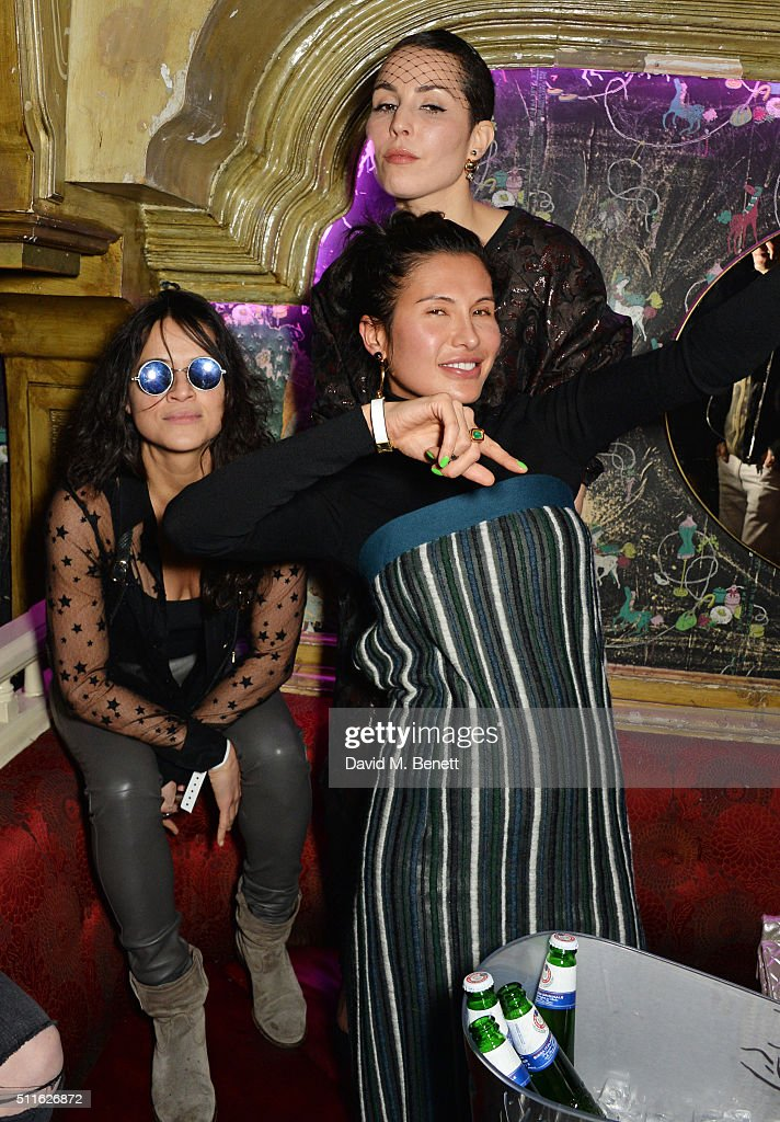 Michelle Rodriguez Goga Ashkenazi and Noomi Rapace attend the Mulberry LFW Autumn/Winter 2016 Show After Party at The Box on February 21 2016 in...