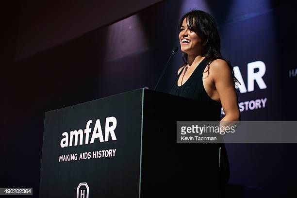 Michelle Rodriguez is seen at amfAR Milano 2015 at La Permanente on September 26 2015 in Milan Italy