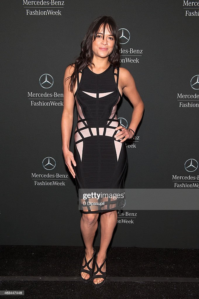 Michelle Rodriguez is seen during MercedesBenz Fashion Week Fall 2015 at Lincoln Center for the Performing Arts on February 14 2015 in New York City