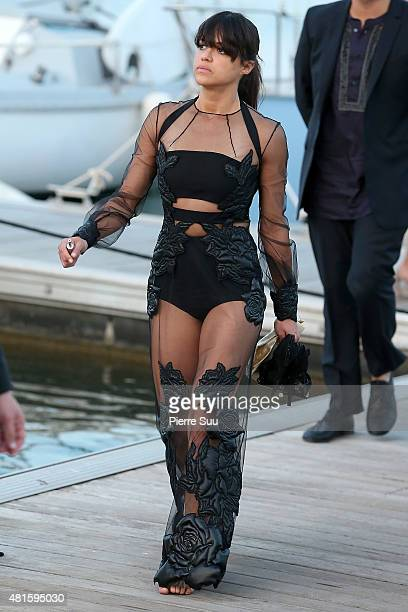 Michelle Rodriguez leaves the port of Cogolin to attend the 'Leonardo Di Caprio Foundation Gala'on July 22 2015 in SaintTropez France