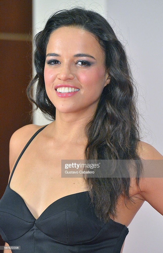 Michelle Rodriguez pose backstage at Billboard Latin Music Awards 2013 at Bank United Center on April 25, 2013 in Miami, Florida.