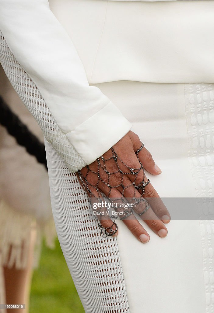 Michelle Rodriguez (detail), wearing a ring by Noudar, attends day two of the Audi Polo Challenge at Coworth Park Polo Club on June 1, 2014 in Ascot, England.