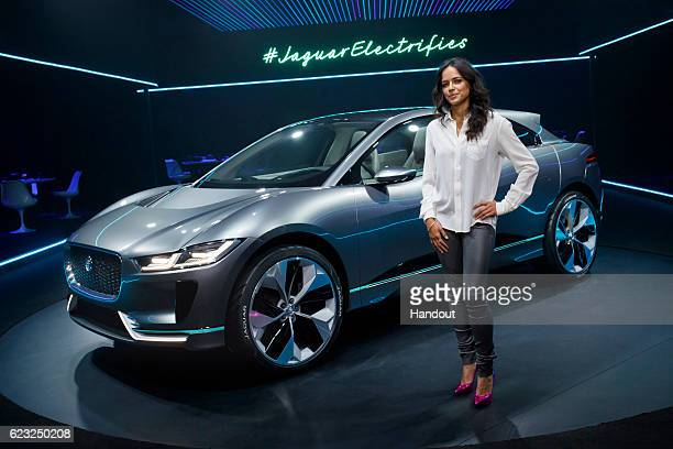 Michelle Rodriguez with the Jaguar IPACE Concept at Milk Studios on November 14 2016 in Los Angeles California
