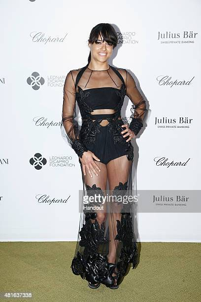 Michelle Rodriquez attends a cocktail reception during The Leonardo DiCaprio Foundation 2nd Annual SaintTropez Gala at Domaine Bertaud Belieu on July...