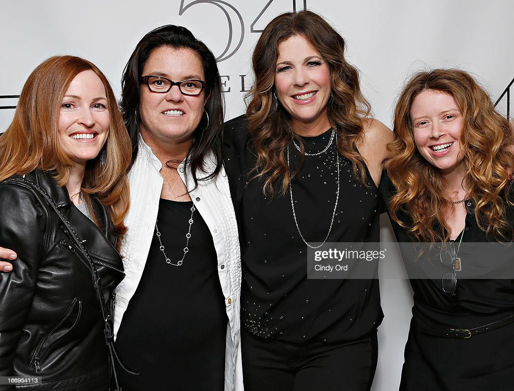Michelle Rounds (L), actress/ comedian Rosie O'Donnell (2nd L) and actress Natasha Lyonne (R) pose with actress/ singer Rita Wilson (2nd R) backstage following her performance at 54 Below on April 18, 2013 in New York City.