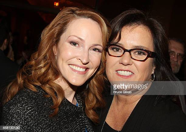 Michelle Rounds and wife Rosie O'Donnell pose at The Opening Night of 'The Real Thing' on Broadway at American Airlines Theatre on October 30 2014 in...