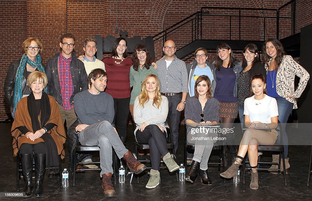 Michelle Satter, Will Greenberg, Cullen Conly, Joni Lefkowitz, Susanna Fogel, Michael Bodie, Julia Miranda, Beth Dover, Ilyse McKimmie, Jordana Mollick, <a gi-track='captionPersonalityLinkClicked' href=/galleries/search?phrase=Mary+Kay+Place&family=editorial&specificpeople=225092 ng-click='$event.stopPropagation()'>Mary Kay Place</a>, <a gi-track='captionPersonalityLinkClicked' href=/galleries/search?phrase=Mark+Duplass&family=editorial&specificpeople=572703 ng-click='$event.stopPropagation()'>Mark Duplass</a>, <a gi-track='captionPersonalityLinkClicked' href=/galleries/search?phrase=Kristen+Bell&family=editorial&specificpeople=194764 ng-click='$event.stopPropagation()'>Kristen Bell</a>, <a gi-track='captionPersonalityLinkClicked' href=/galleries/search?phrase=Lizzy+Caplan&family=editorial&specificpeople=599560 ng-click='$event.stopPropagation()'>Lizzy Caplan</a> and <a gi-track='captionPersonalityLinkClicked' href=/galleries/search?phrase=Portia+Doubleday&family=editorial&specificpeople=5850991 ng-click='$event.stopPropagation()'>Portia Doubleday</a> attend The Sundance Institute Feature Film Program Screenplay Reading Of 'Life Partners' by lab fellows Susana Fogel and Joni Lefkowitz at Actors' Gang at the Ivy Substation on December 12, 2012 in Culver City, California.