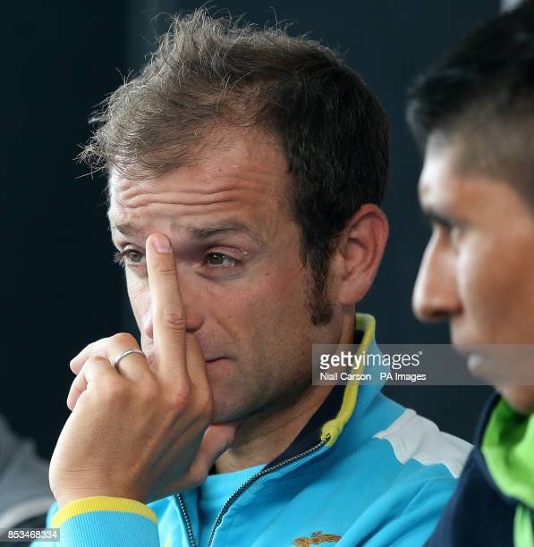 Michelle Scarponi and Nairo Quintana during a press conference at Belfast Waterfront Hall Belfast