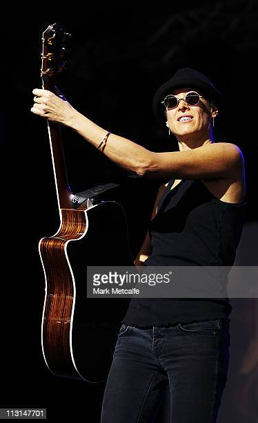 Michelle Shocked performs on stage during day five of the Bluesfest Music Festival at Tyagarah Tea Tree Farm on April 25 2011 in Byron Bay Australia