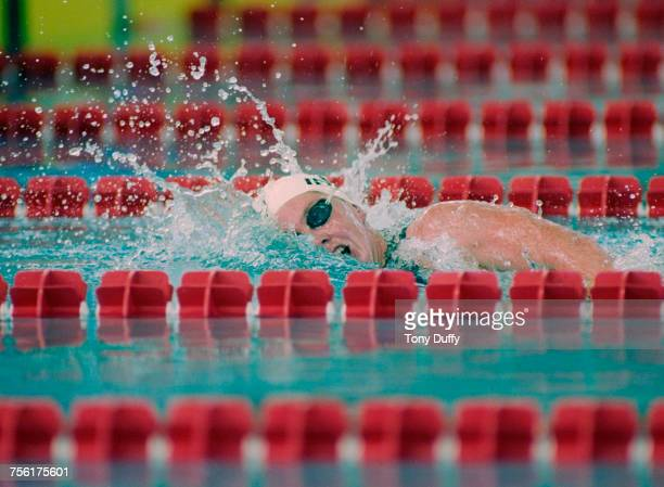 Michelle Smith of Ireland competes in the Women's 400 metres Freestyle event at the XXVI Summer Olympic Games on 22 July 1996 at the Georgia Tech...