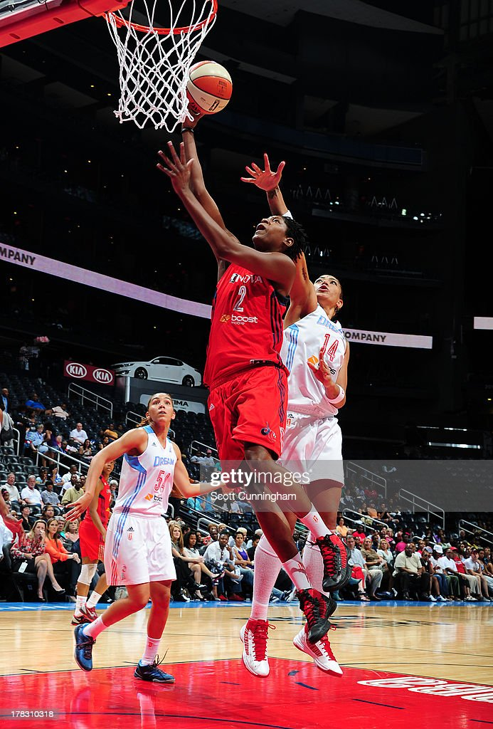 Michelle Snow #2 of the Washington Mystics puts up a shot against the Atlanta Dream at Philips Arena on August 28 2013 in Atlanta, Georgia.