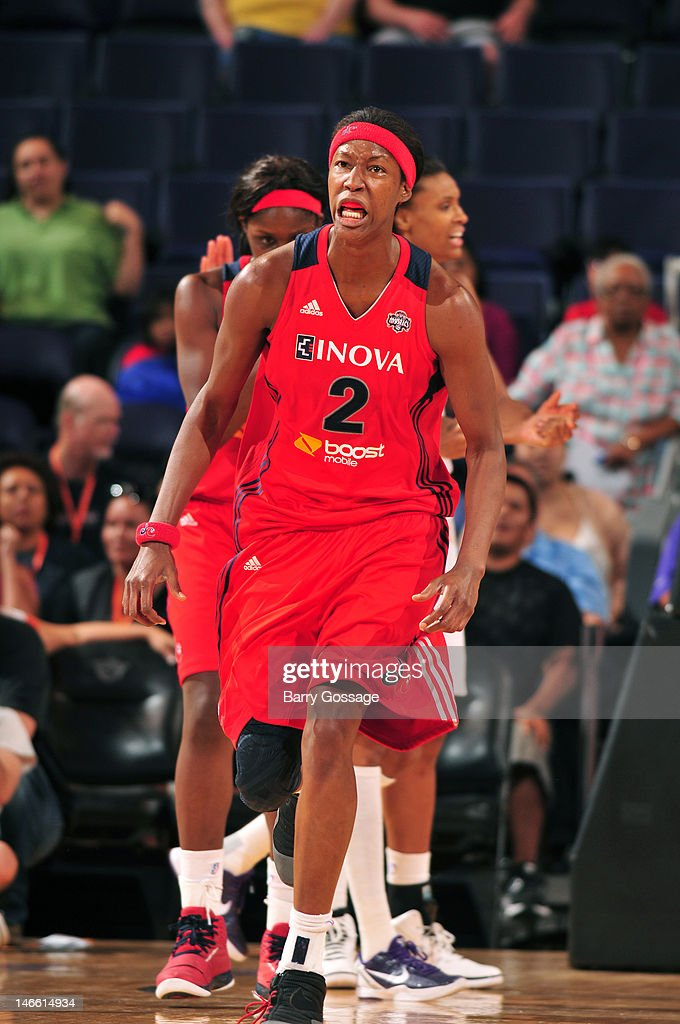 <a gi-track='captionPersonalityLinkClicked' href=/galleries/search?phrase=Michelle+Snow&family=editorial&specificpeople=208195 ng-click='$event.stopPropagation()'>Michelle Snow</a> #2 of the Washington Mystics reacts a play against the Phoenix Mercury on June 20, 2012 at U.S. Airways Center in Phoenix, Arizona.