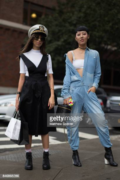 Michelle Song Thania Peck are seen attending Marchesa during New York Fashion Week wearing GStar Chanel Dior GStar Pinko on September 13 2017 in New...