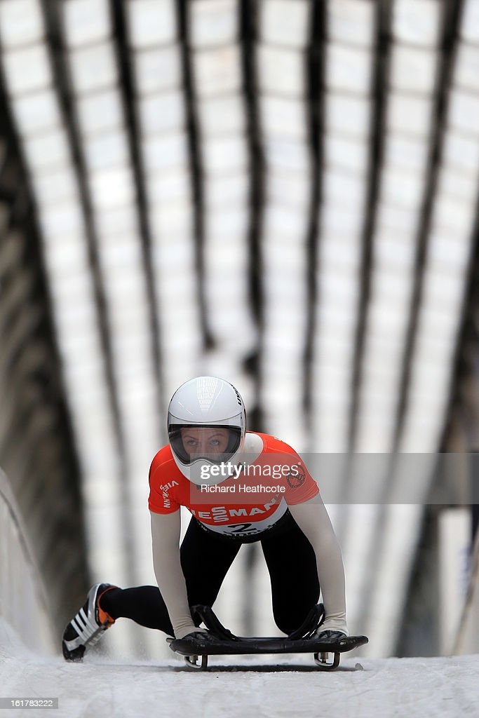 Michelle Steele of Australia at the finish line during the Viessman FIBT Bob & Skeleton World Cup at the Sanki Sliding Center in Krasnya Polyana on February 16, 2013 in Sochi, Russia. Sochi is preparing for the 2014 Winter Olympics with test events across the venues.