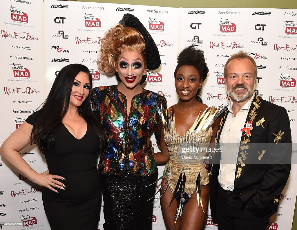 <a gi-track='captionPersonalityLinkClicked' href=/galleries/search?phrase=Michelle+Visage&family=editorial&specificpeople=7359421 ng-click='$event.stopPropagation()'>Michelle Visage</a>, <a gi-track='captionPersonalityLinkClicked' href=/galleries/search?phrase=Bianca+Del+Rio&family=editorial&specificpeople=5601491 ng-click='$event.stopPropagation()'>Bianca Del Rio</a>, <a gi-track='captionPersonalityLinkClicked' href=/galleries/search?phrase=Beverley+Knight&family=editorial&specificpeople=204569 ng-click='$event.stopPropagation()'>Beverley Knight</a> and <a gi-track='captionPersonalityLinkClicked' href=/galleries/search?phrase=Graham+Norton&family=editorial&specificpeople=206423 ng-click='$event.stopPropagation()'>Graham Norton</a> attend West End Bares: Take Off to benefit TheatreMAD at Cafe de Paris on September 20, 2015 in London, England.