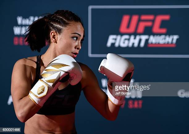 Michelle Waterson holds an open training session for fans and media at the Golden 1 Center on December 15 2016 in Sacramento California